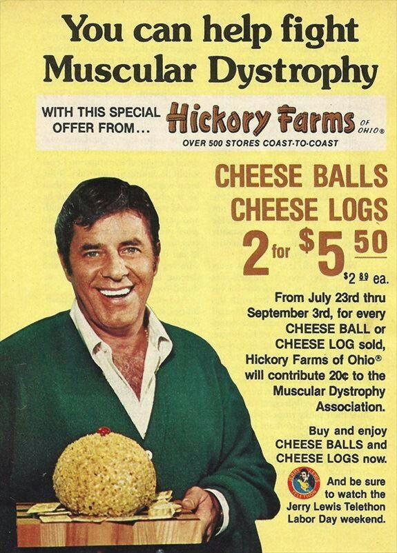 Hickory Farms/Muscular Dystrophy print ad with Jerry Lewis