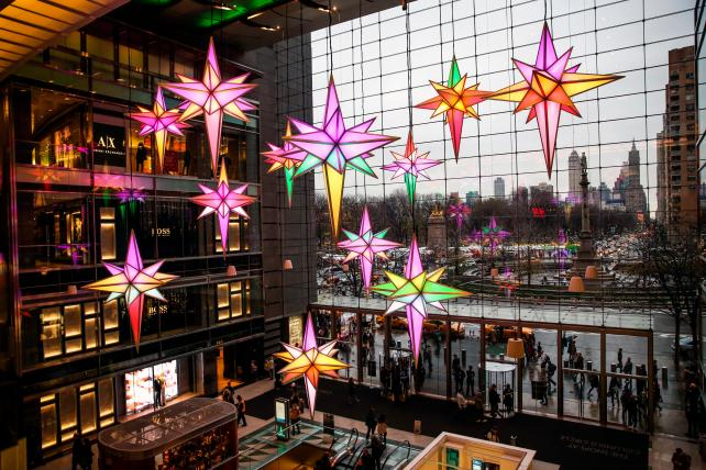 Illuminated Christmas decorations in New York last December.