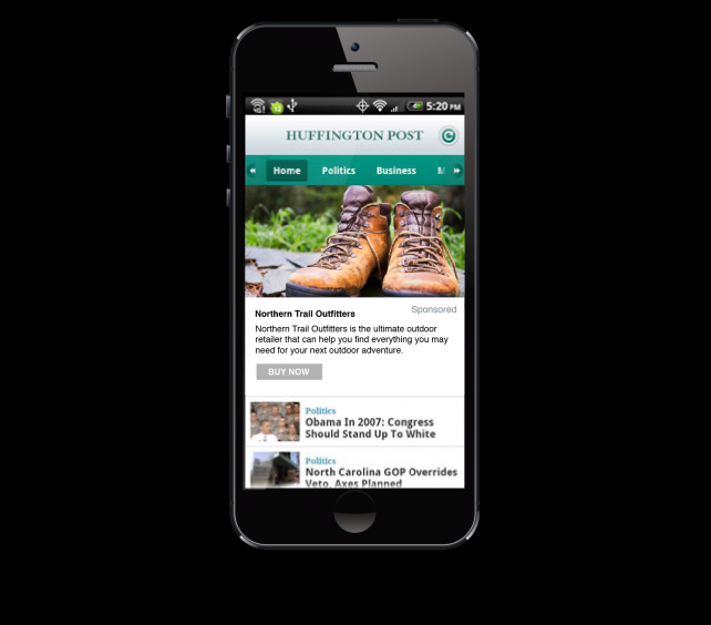 Fictitious company Northern Trail Outfitters is using data from its existing Salesforce CRM account to reach a consumer target through an ad on the Huffpost mobile app.