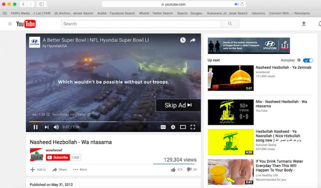 Hyundai ad runs as pre-roll to video supporting Hezbollah in screen capture provided by Gipec.