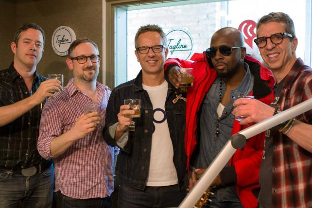 Bulleit mixologist Brian Floyd, Publicis Media's Adam Shlachter, Gap Chief Marketing Officer Craig Brommers, Wycelf Jean and Lava Records CEO Jason Flom assemble to record an episode of the 'Tagline' podcast.