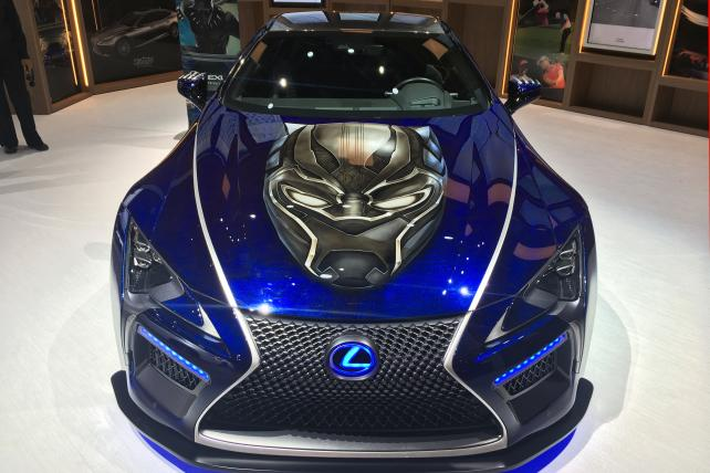 Lexus displayed a specially designed 'Black Panther'-themed car at the Detroit Auto Show on Monday.