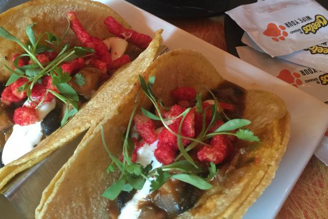 Tacos with Flamin' Hot Cheetos were part of the menu at The Spotted Cheetah, a pop-up restaurant in New York.
