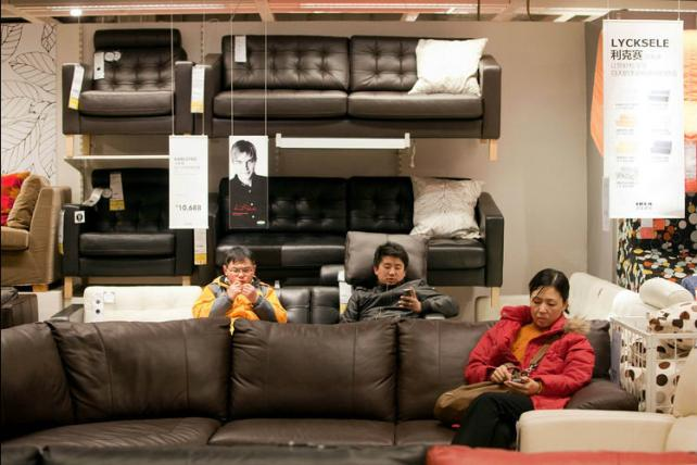 Shoppers in the furniture department of Ikea's first store in Beijing.