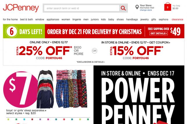 JC Penney's holiday website