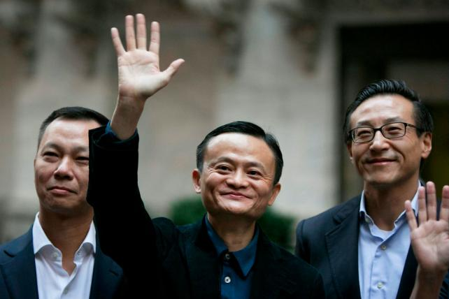 Billionaire Jack Ma, chairman of Alibaba Group, center.