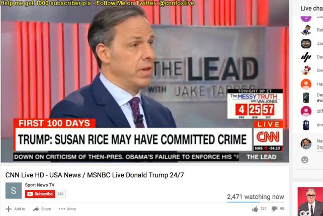 A still from a live YouTube stream of CNN programming on Wednesday.