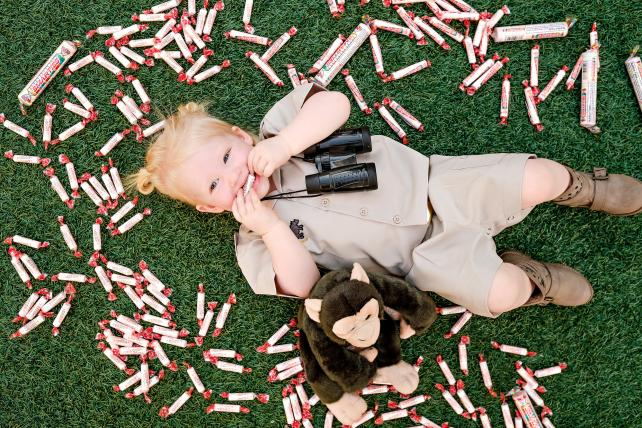 Blogger Jessica Hughes' daughter Henley, in a Jane Goodall costume.