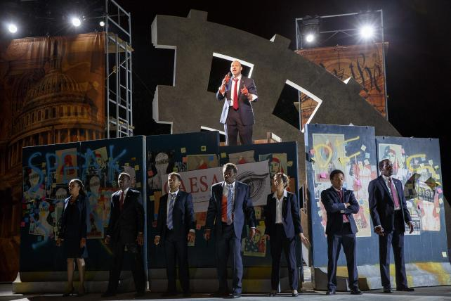Corey Stoll (above) and other cast members in The Public Theater's Free Shakespeare in the Park production of Julius Caesar at the Delacorte Theater in Central Park.