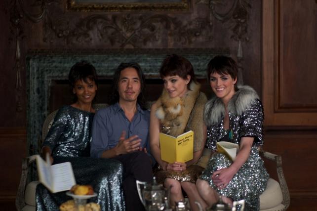 Jun Diaz with cast of Womenswear Award film