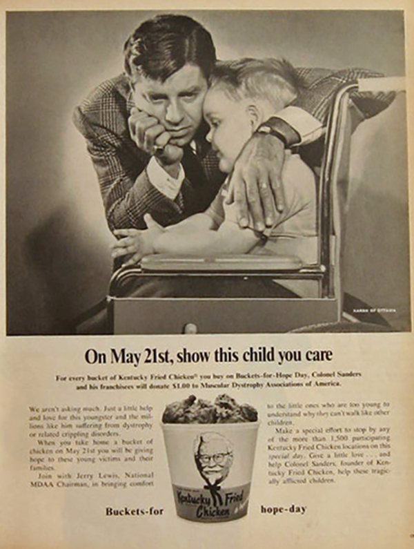 KFC Buckets-for-Hope-Day print ad with Jerry Lewis