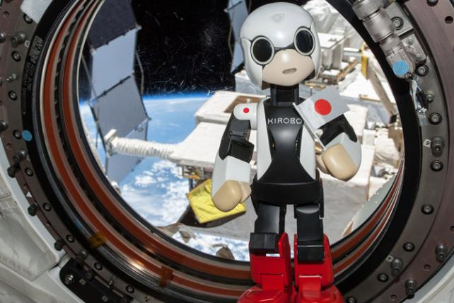 Kirobo, the talking robot, in outer space