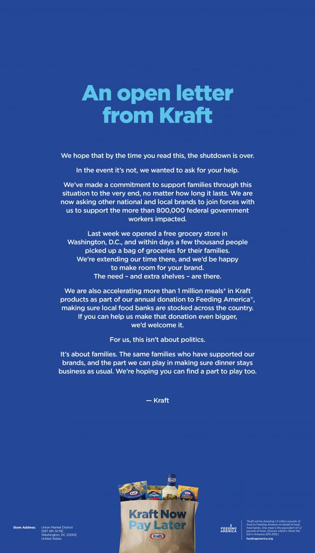Kraft takes out Post ad seeking more support of furloughed workers as shutdown continues
