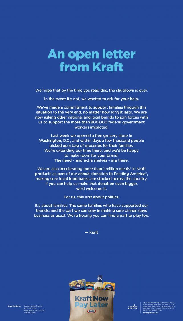 Kraft's open letter ad is set to run in the Washington Post on Jan. 20