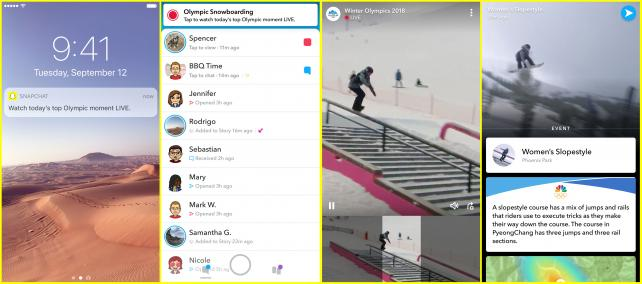 Snapchat will notify users when Olympic events go live.