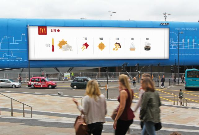 A McDonald's billboard in Liverpool plays off the local weather forecast.