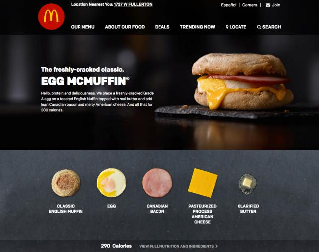 McDonald's website - new