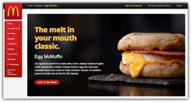 McDonald's website - old