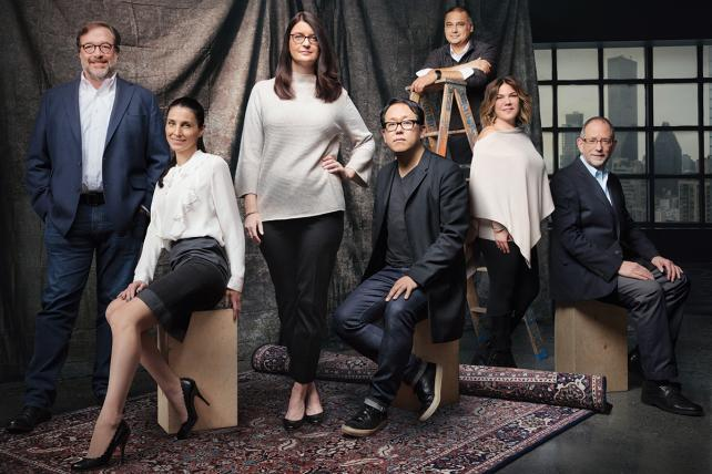 (From l.): Bill Kolb, Ariana Stolarz, Kate MacNevin, Sung Chang, Subu Desaraju, Marcy Q. Samet and Neal Prescott.