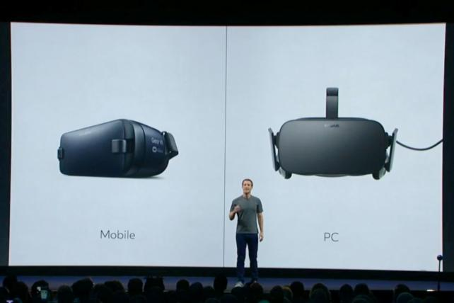 Mark Zuckerberg showed off new virtual reality software at the Oculus event on Thursday.