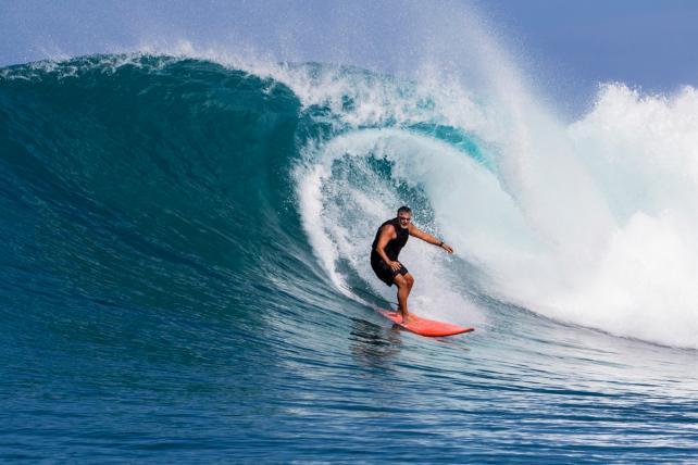 Marcello Serpa surfs daily near his Hawaii home