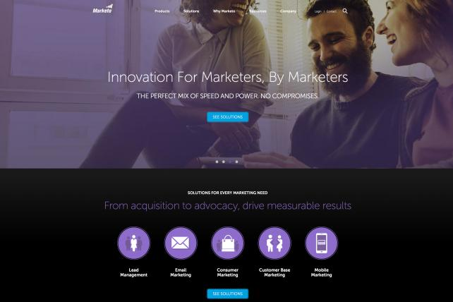 Marketo's website advertises a range of data-fueled services for marketers.