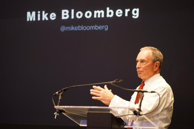 Mike Bloomberg at his company's NewFront presentation.