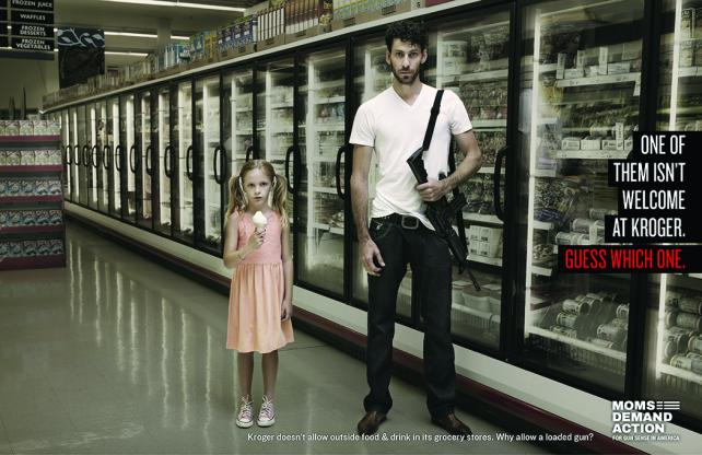 An ad in the 'Groceries Not Guns' campaign,