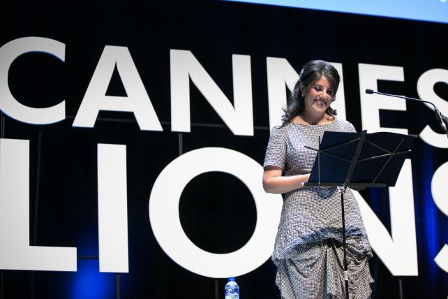 Monica Lewinsky gives a speech at the Ogilvy & Mather Seminar during the Cannes Lions International Festival of Creativity on June 25, 2015 in Cannes, France.