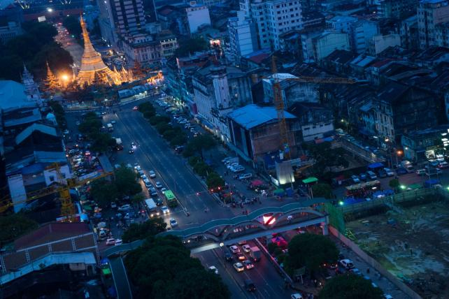 Yangon, Myanmar at dusk.