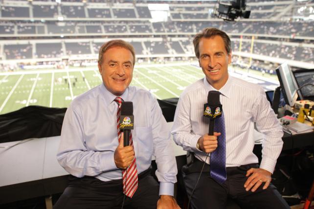 NBC Sunday Night Football's Al Michaels (left) and Cris Collinsworth.
