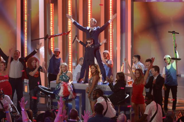 Matt Iseman, Carrot Top, Reese Witherspoon, Little Neal, Neil Patrick Harris, Nicole Scherzinger and Gloria Gaynor in the series premiere of 'Best Time Ever' on NBC.