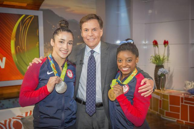 Bob Costas poses with U.S. Gymnasts Aly Raisman and Simone Biles on NBC.
