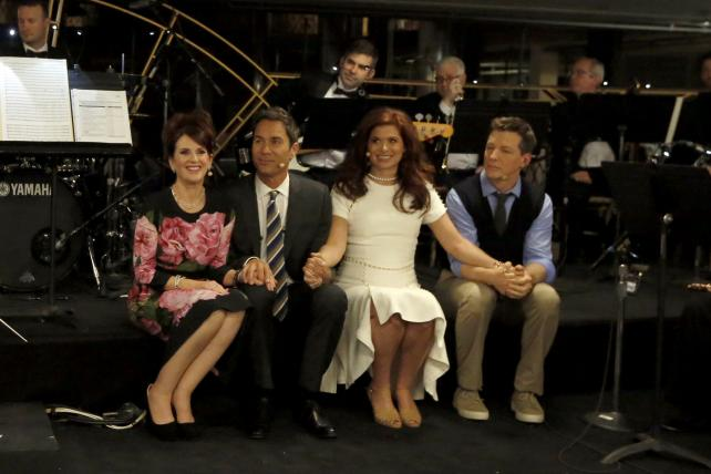 The cast of 'Will & Grace' at NBC Universal's 2017 upfronts presentation on Monday.