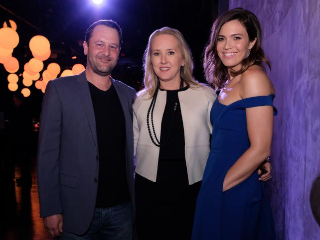 Jennifer Salke, president of entertainment at NBC (center), with Dan Fogelman, 'This Is Us' creator and executive producer/writer, and series star Mandy Moore at the TV Academy FYC Screening and Panel Discussion at The Cinerama Dome in Hollywood.