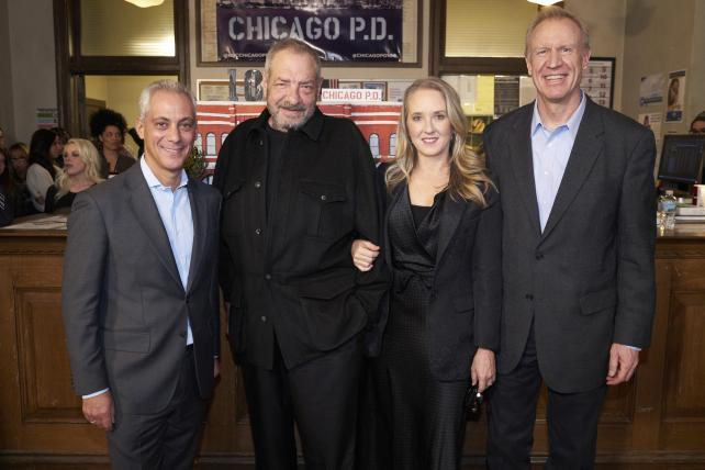 Wednesdays on NBC will be all about Dick Wolf (second from left) this fall, with 'Chicago Med,' 'Chicago Fire' and 'Chicago P.D.' airing back-to-back.