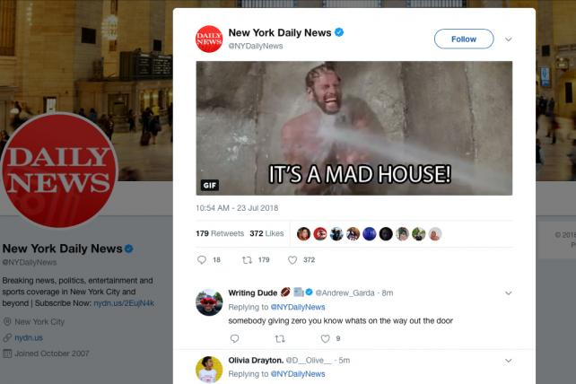 The New York Daily News social media team appeared to go a little rogue after deep staff cuts