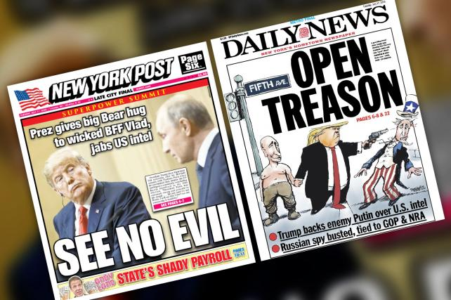 The New York Post and Daily News pile on Trump after Helsinki