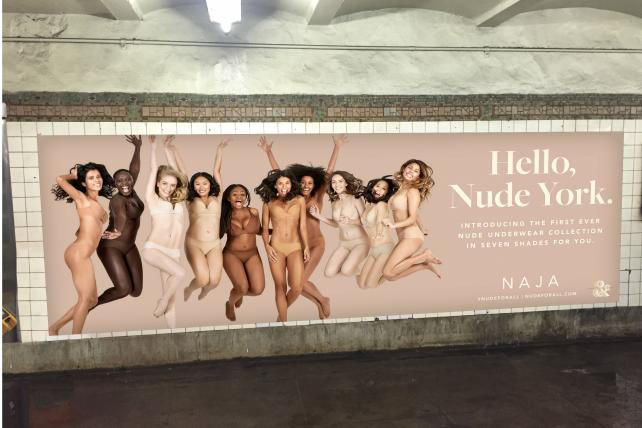 Subway poster for Naja's #NudeForAll campaign