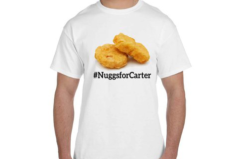 Carter has seized on the publicity by selling apparel like this T-shirt.