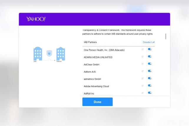 Yahoo's consent page is very clean and straightforward.