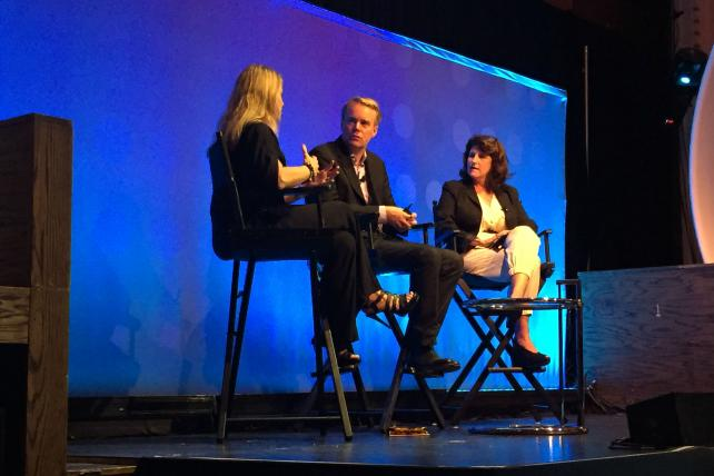 Coke's Jennifer Healan, Ogilvy's Colin Mitchell and Facebook's Hope Cowan at Advertising Week on Monday morning.
