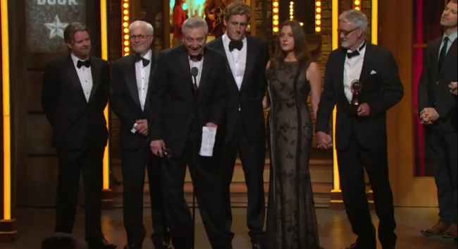 Accepting Award for Best Musical from left: Smuggler's Brian Carmody (producer), Robert Cole (general manager), Fred Zollo (producer), Smuggler's Patrick Milling Smith (producer), Barbara Broccoli (producer), Phil Smith (schubert theatre organization)
