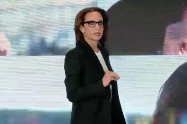 Pam Drucker Mann presents at the 2018 Conde Nast Digital Newfront.