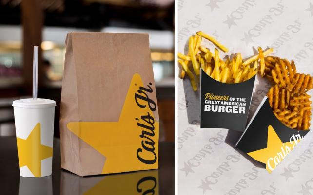 Carl's Jr.'s redesigned packaging.