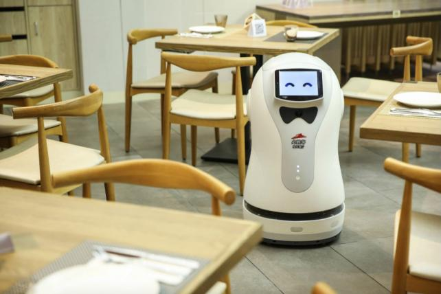 The robot at Pizza Hut's ph+ concept store in Shanghai