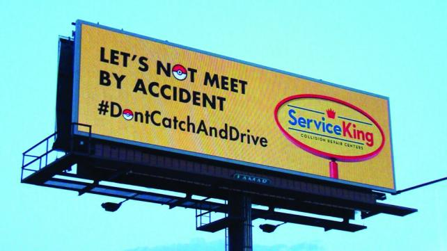 The Service King chain of auto repair centers quickly adapted digital billboards across the country last week to tap into Pokémon Go.