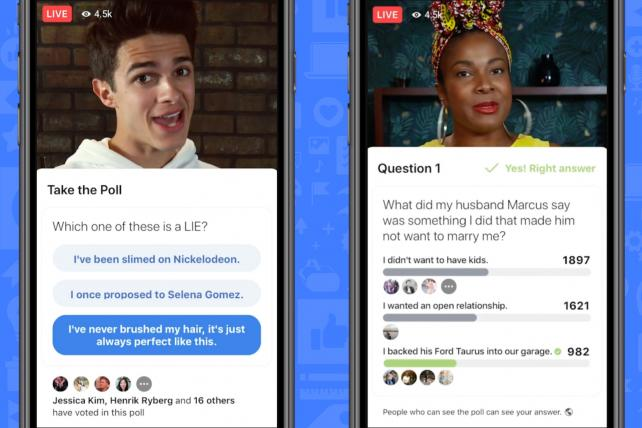 Q: Things that mimic HQ Trivia. A: What are Facebook's new game shows?