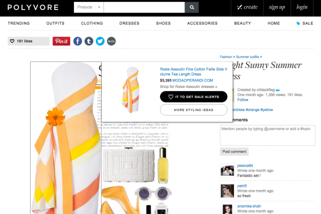 Polyvore features fashion items that people can click to buy from a retailer's site.