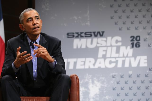 President Barack Obama speaks on the opening day of the SXSW Interactive Festival in Austin.